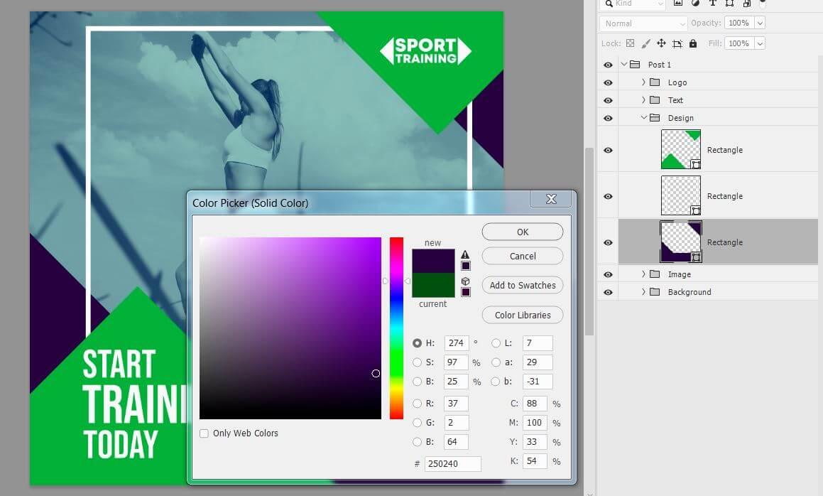 Картинка как сменить цвет в заготовке через фотошоп