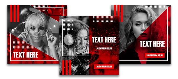 Картинка - красные шаблоны инстаграм для фотошопа с лицами девушек