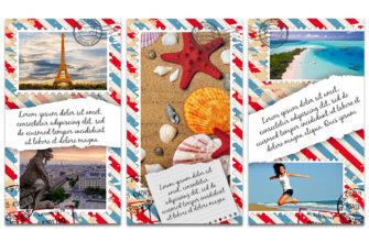 Три картинка в виде почтовых марок на тему путешествий.