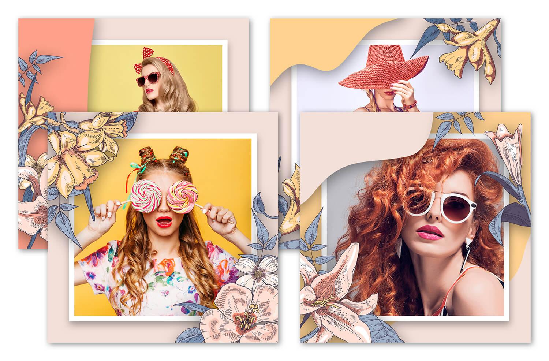 Изображение четырех шаблонов с цветочными рисунками.