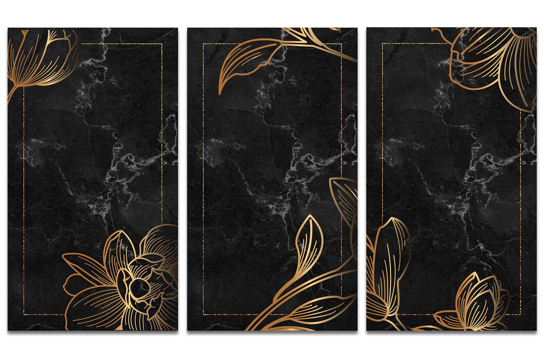 Три картинки с золотыми цветами на черном фоне.