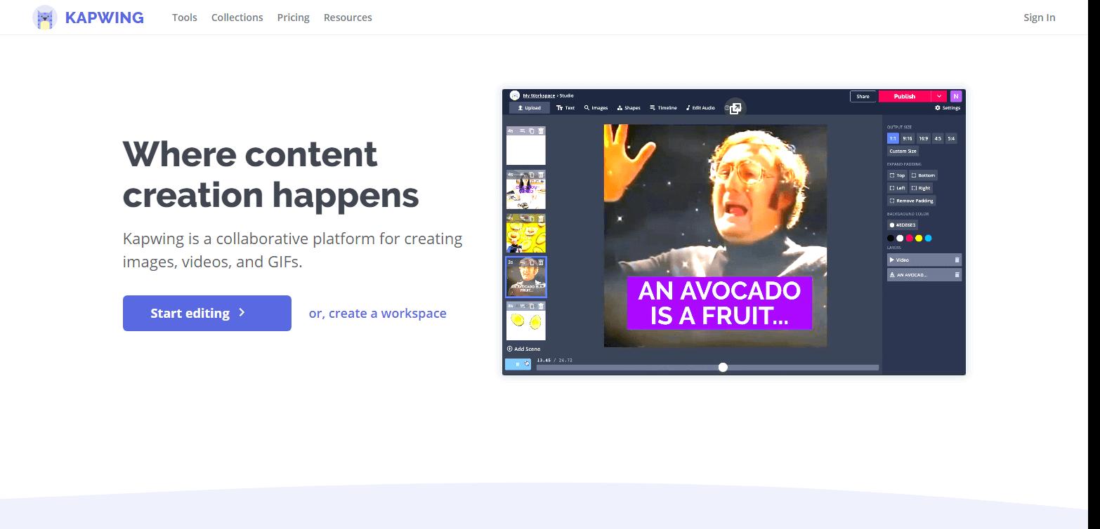 Скриншот сайта Kapwing