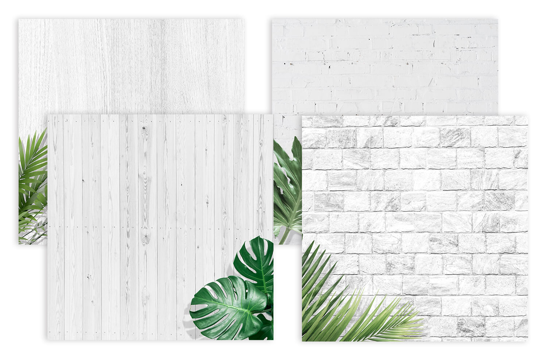 Четыре белых квадрата с текстурами дерева и камня.