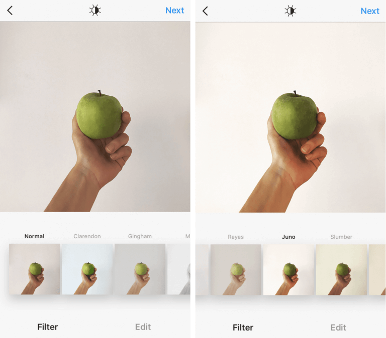 Картинка как наложить фильтр Juno на фото в инстаграм