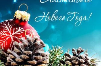 Синяя новогодняя открытка с еловыми ветками, шишками и красным шаром.
