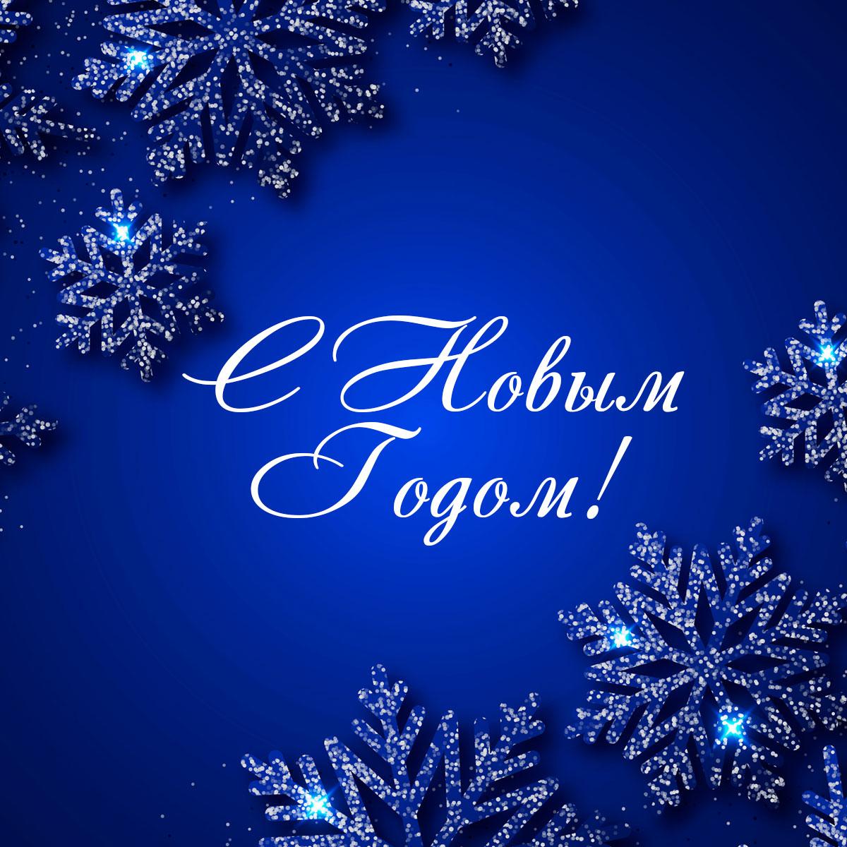 Картинка синего цвета с зимними снежинками и поздравительной надписью.