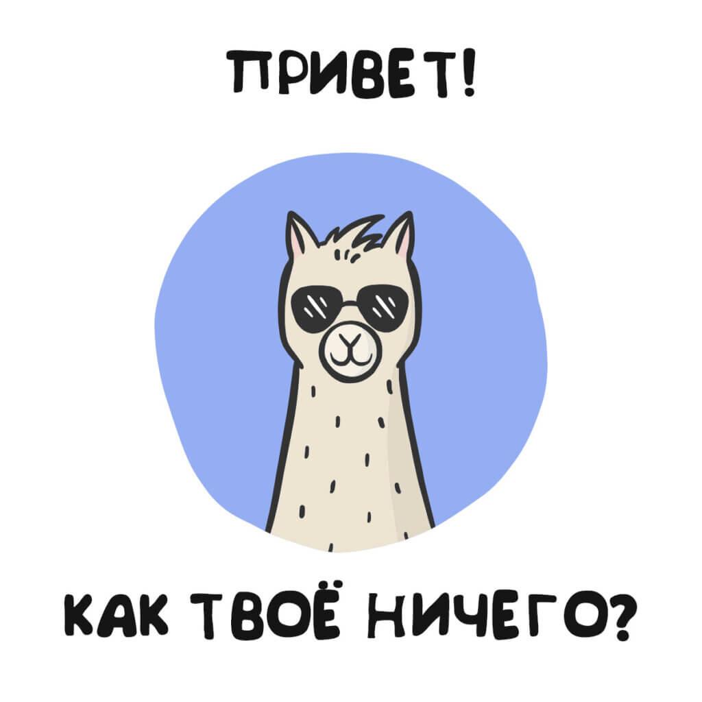 Картинка с текстом - мультипликационная открытка привет как дела с мордой ламы в солнечных очках