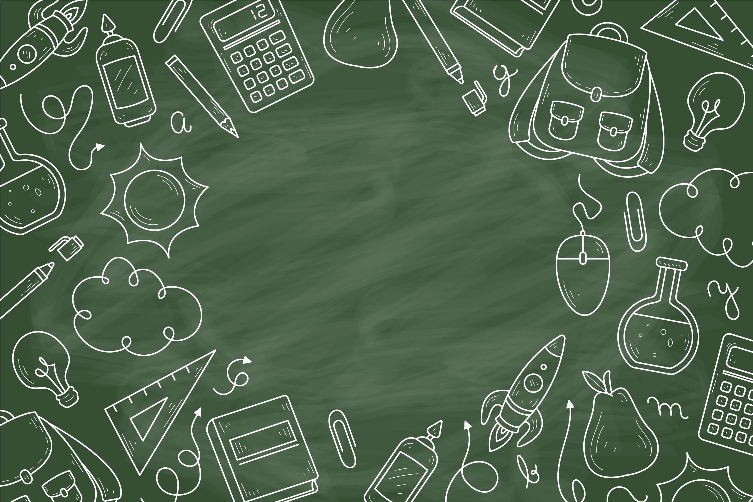 Картинка фон для фотошопа школьная доска зелёного цвета с рисунками мелом