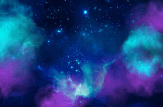 Картинка голубой фон для фотошопа космос со светящейся туманностью фиолетового и пурпурного цвета