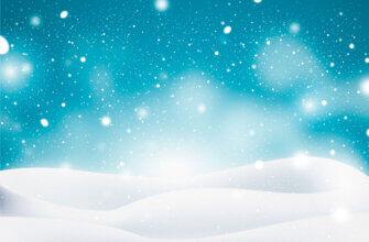 Картинка зимний фон для фотошопа с голубым небом и снежными сугробами на которые падают снежинки