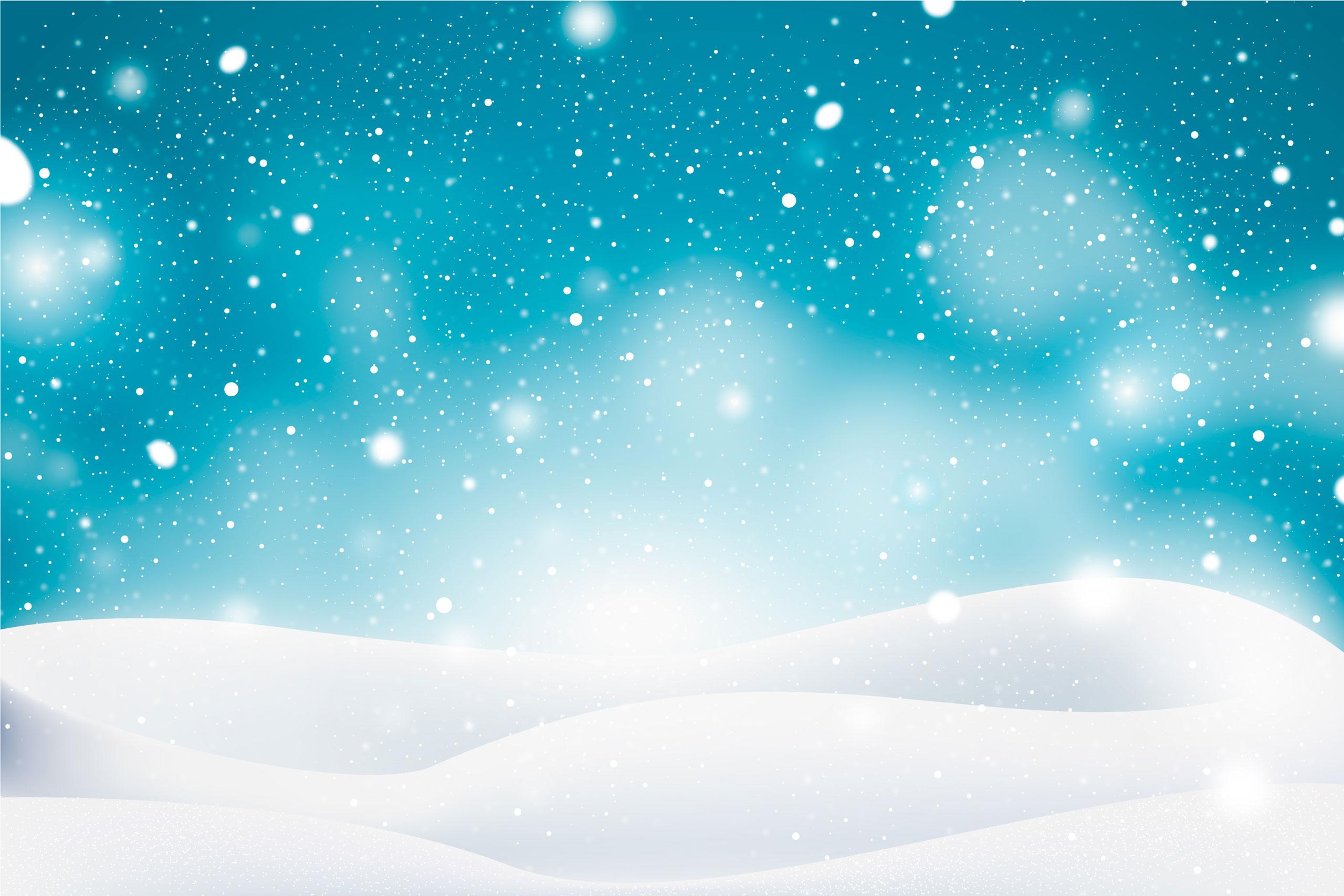 Зимний фон с сугробами и снежинками.