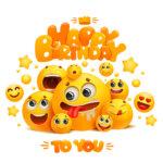 Картинка с эмоджи Happy Birthday to You для хорошего настроения.
