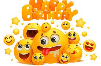 Открытка день рождения смешные смайлики жёлтого цвета с разной мимикой и текстом.