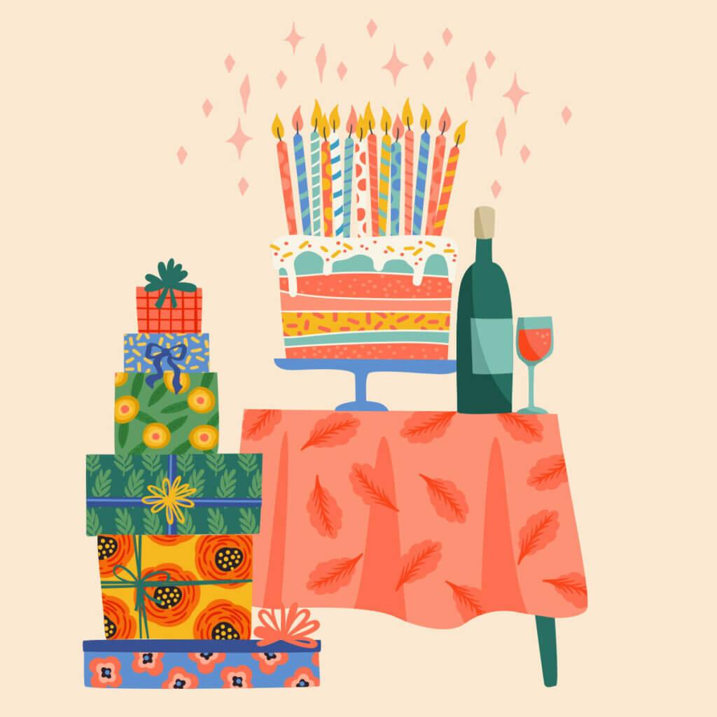 Картинка - открытка с днем рождения без текста с тортом, подарками и вином на столе.