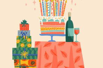 Открытка с днем рождения без текста с тортом, подарками и вином на столе.