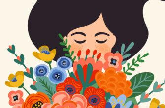 Открытка с др: рисунок женщины с черными волосами с букетом разноцветных цветов.