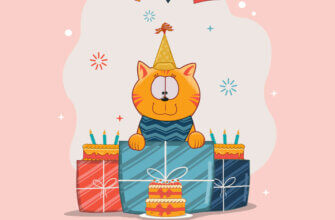 Картинка кот в колпаке, подарки и торт на нежно розовом фоне.