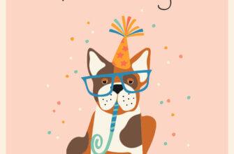 Прикольная открытка на день рождения с собакой в очках и праздничной шляпе на персиковом фоне.