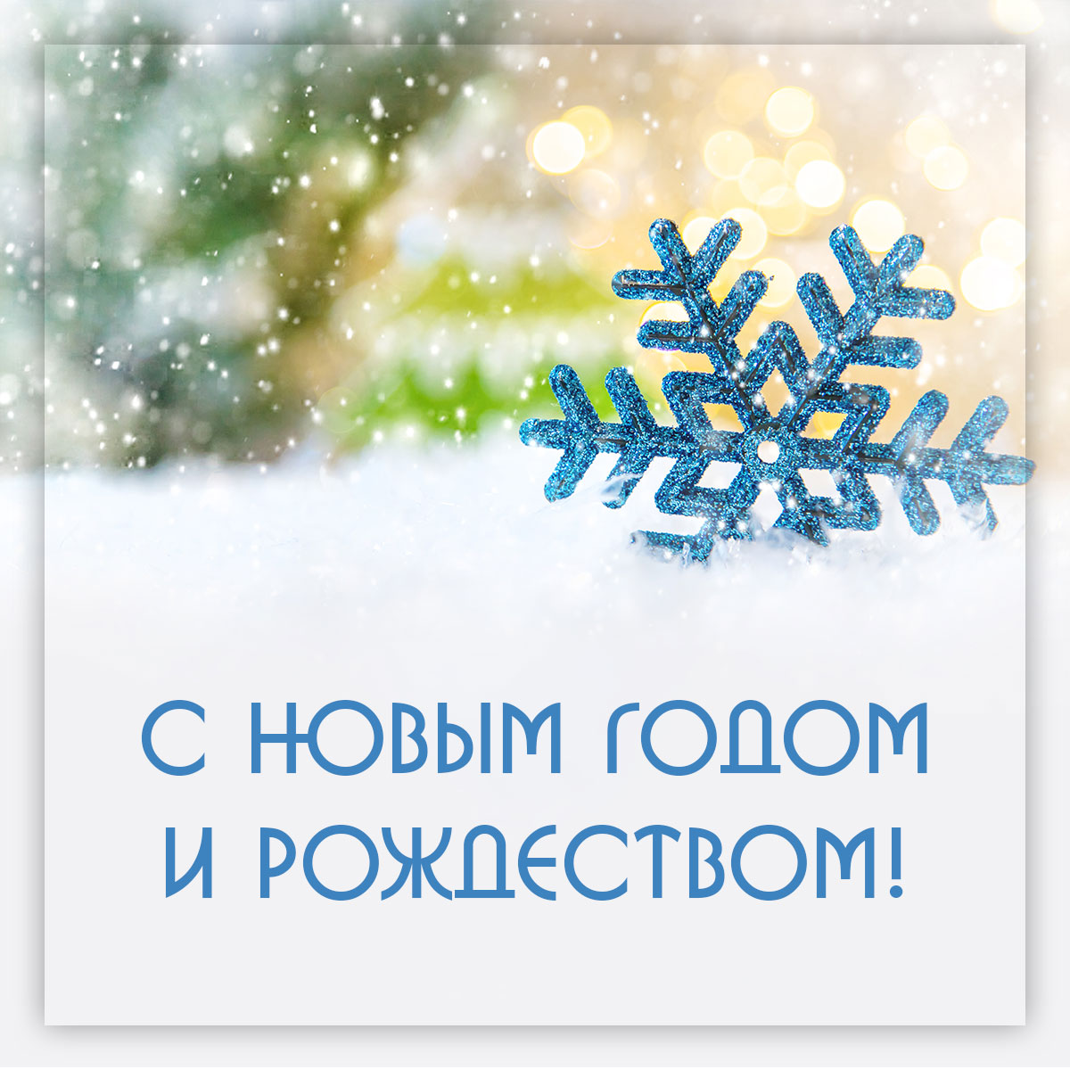 Зимняя картинка снежинки с поздравительным текстом.