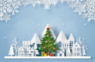 Картинка с белым текстом - новогодняя объемная открытка с зимней ёлкой, снежинками и домами из вырезанной бумаги.
