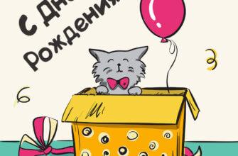 Картинка с текстом - прикольная открытка с днем рождения с котом в жёлтой коробке и красным воздушным шаром.