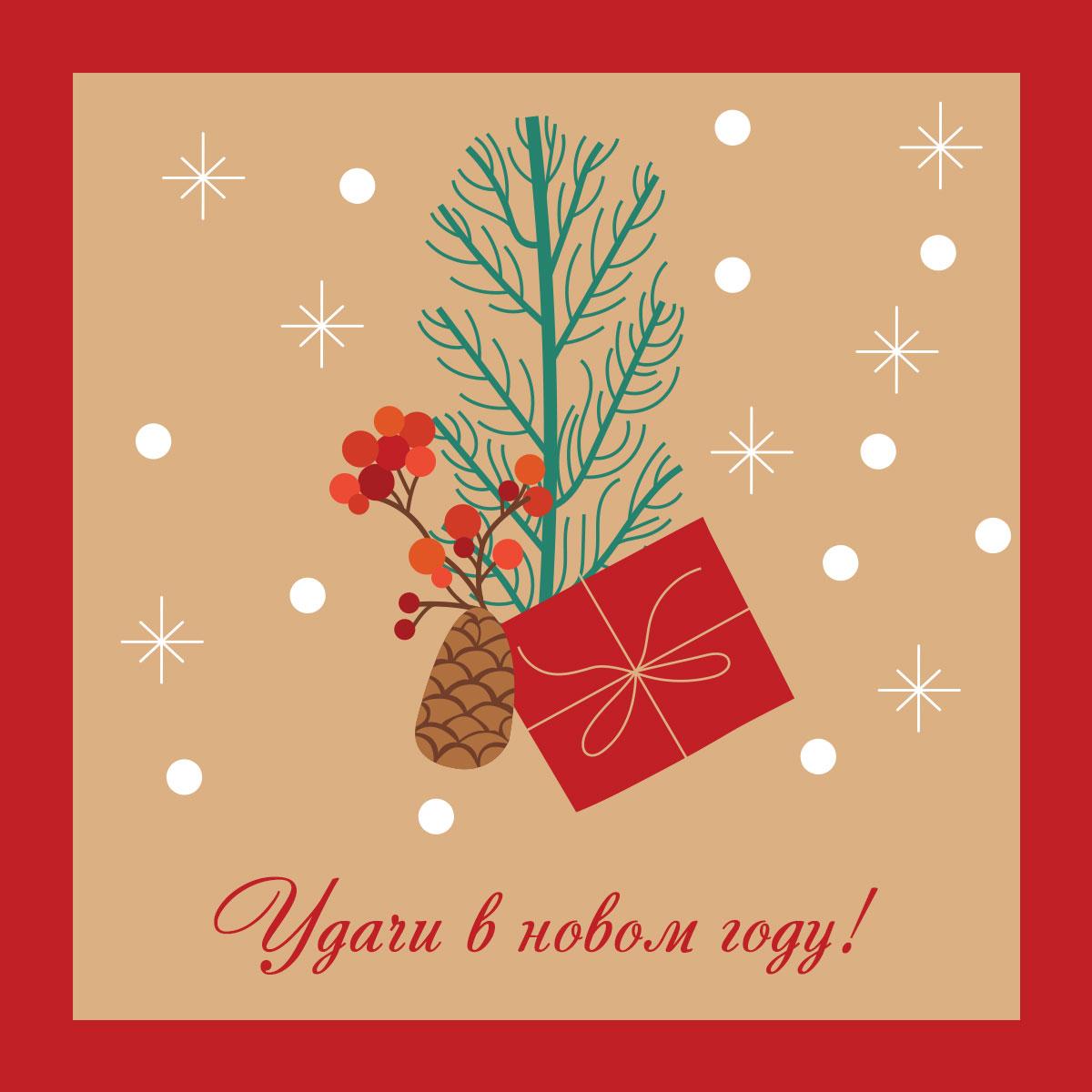 Картинка с поздравительным текстом удачи в новом году с рисунком ветки, шишки и красной коробки для подарка на коричневом фоне со снежинками.