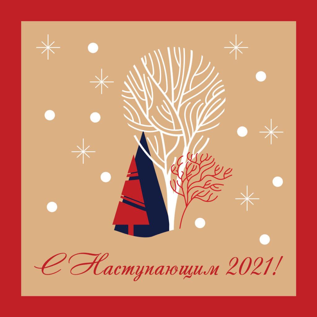 Картинка с текстом под креативные новогодние открытки с ёлками и деревьями на фоне со снежинками в красной рамке.