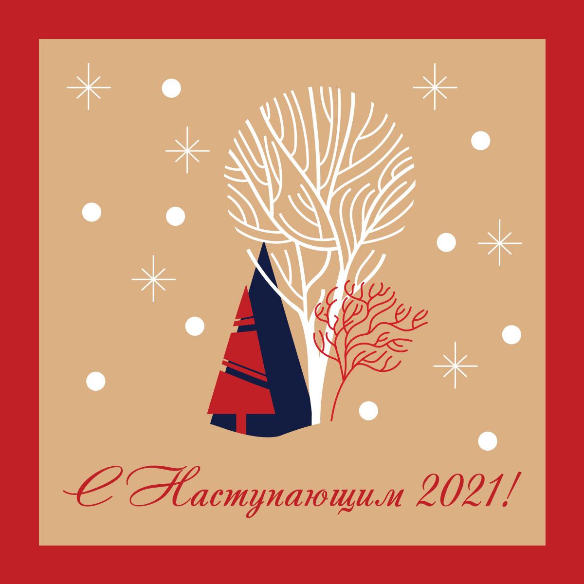 Картинка с ёлками и деревьями со снежинками в красной рамке.