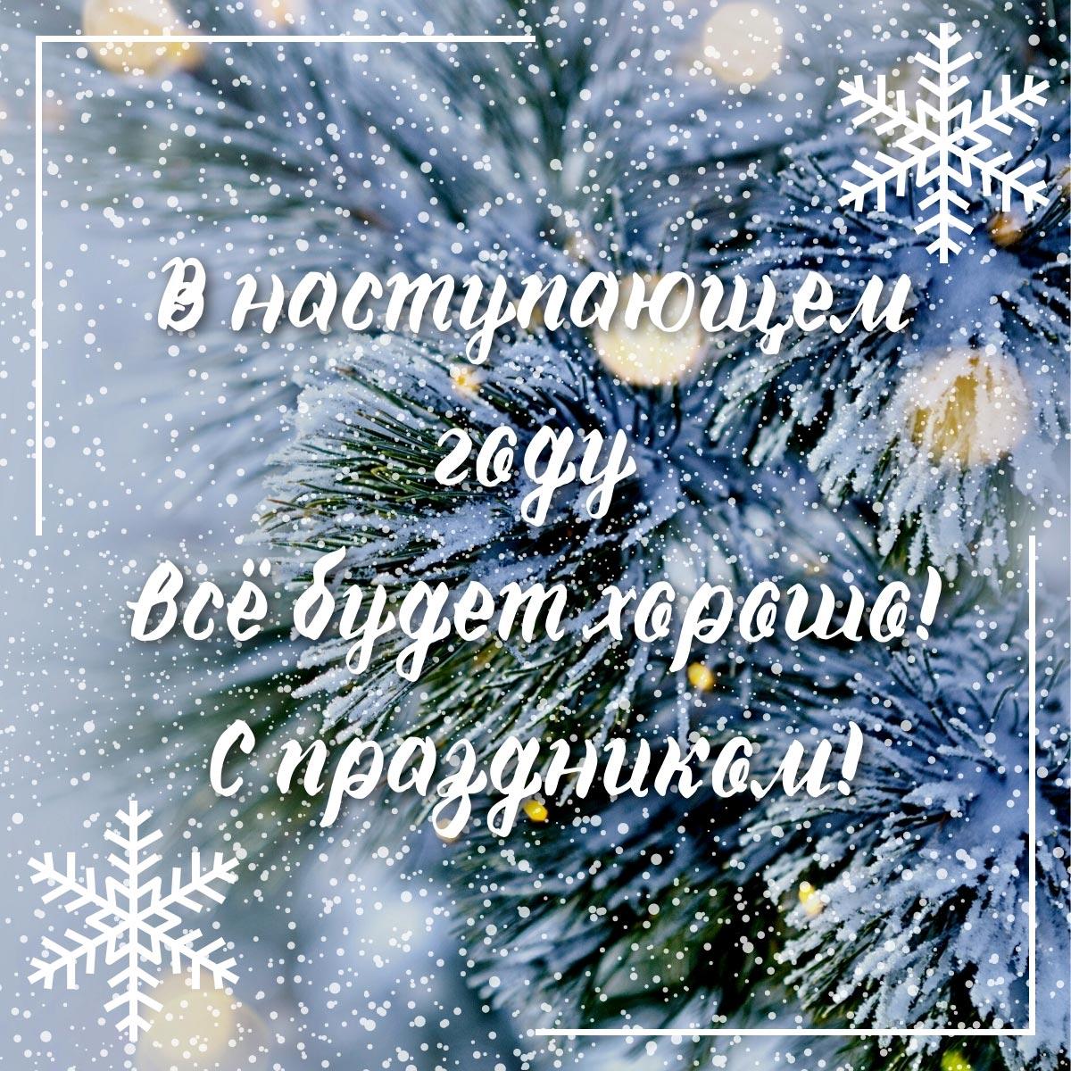 Картинка с короткими поздравлениями с новым годом в прозе каллиграфическим шрифтом на фоне заснеженных ветвей ёлки.