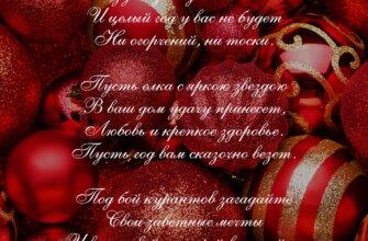 Пожелание на новый год в стихах на фото с ёлочными шарами.