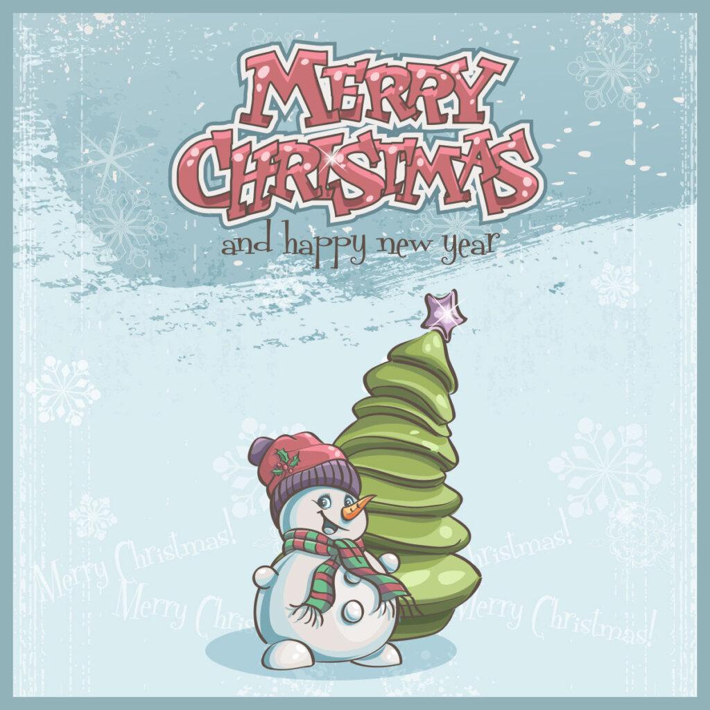 Картинка с текстом - мультипликационная открытка на новый год на английском языке со снеговиком возле ёлки на зимнем фоне со снегом.