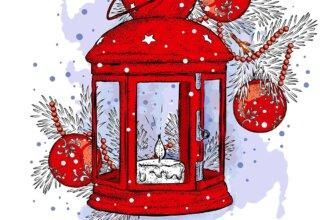 Картинка с текстом - оригинальная новогодняя открытка друзьям с красным старинным фонарём со свечой и рождественскими украшениями.