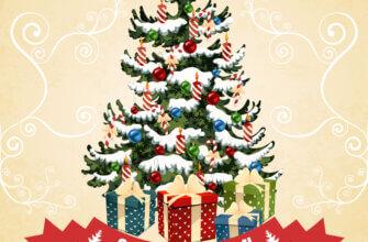 Картинка новогодняя ёлка с подарками на жёлтом фоне с белыми узорами.