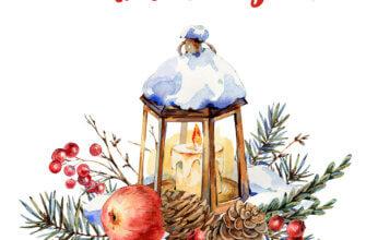 Картинка с текстом - красивое поздравление с новым годом с ветками и шишками ели, старинным фонарём со свечой, яблоком и красными ягодами.