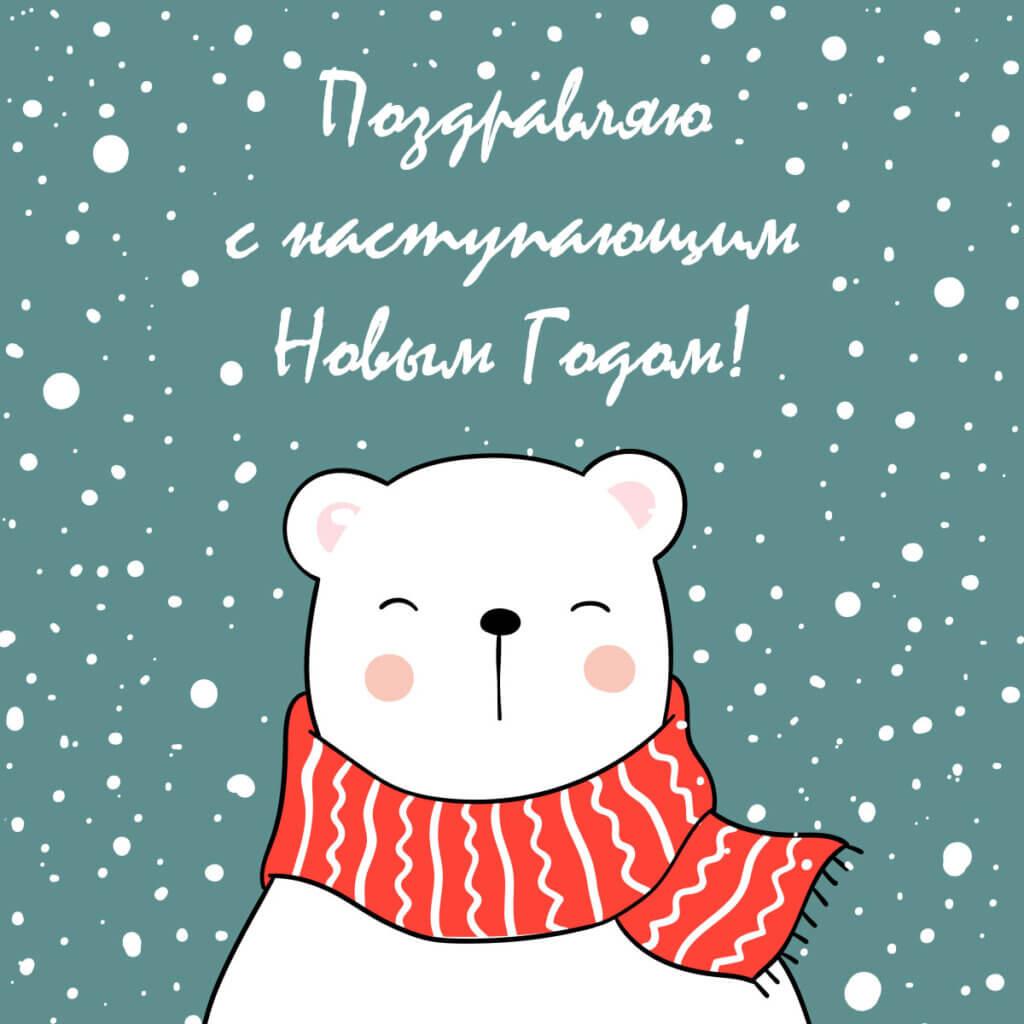 Картинка с текстом - дизайнерская открытка с новым годом: белый медведь в красном шарфе на фоне снегопада.