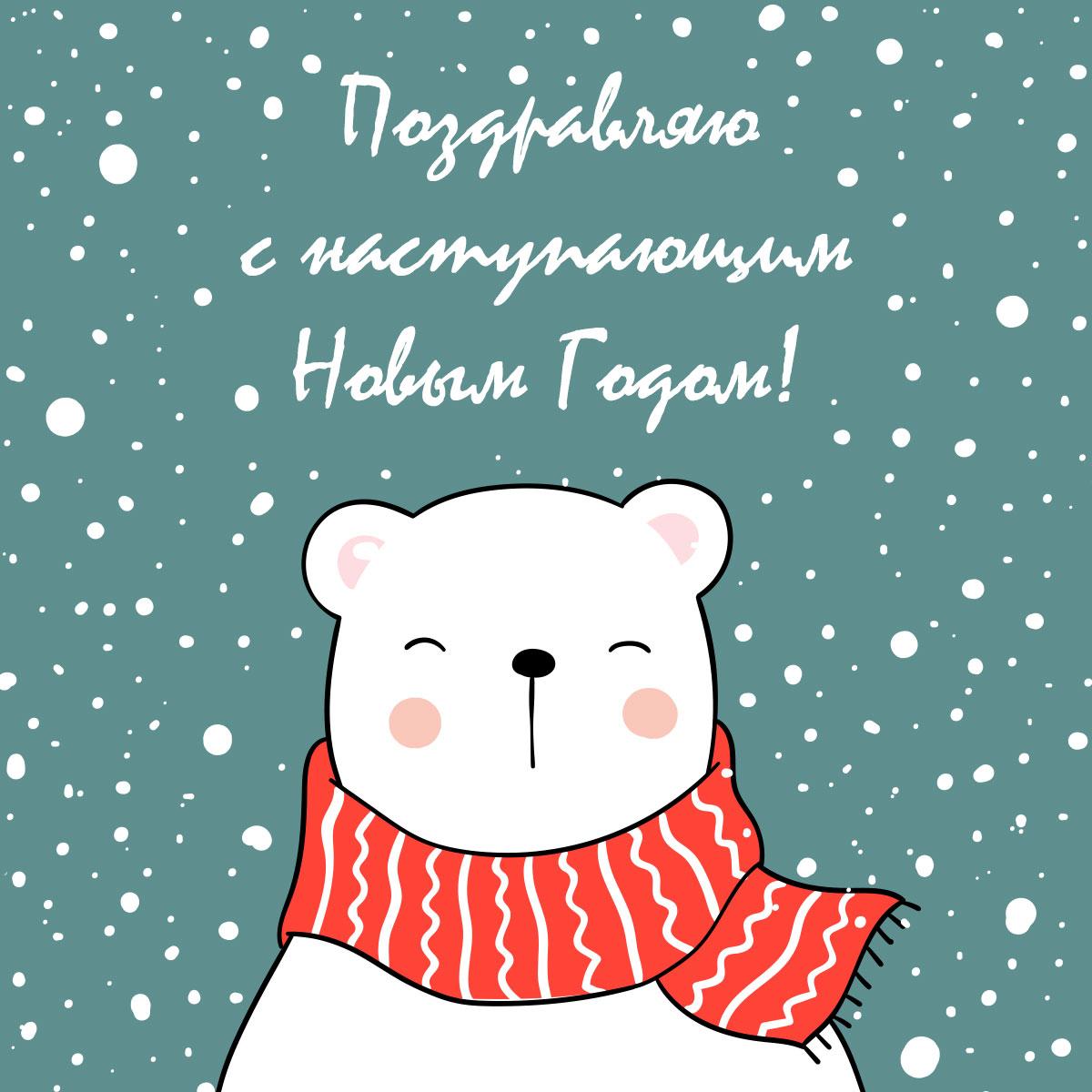 Белый медведь в красном шарфе на фоне снегопада.