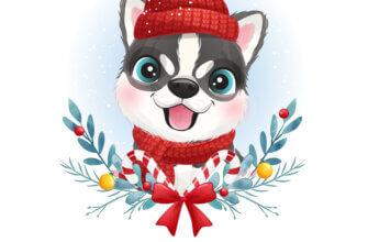 Картинка для детей на новый год с мородочкой щенка хаски в красной шапке
