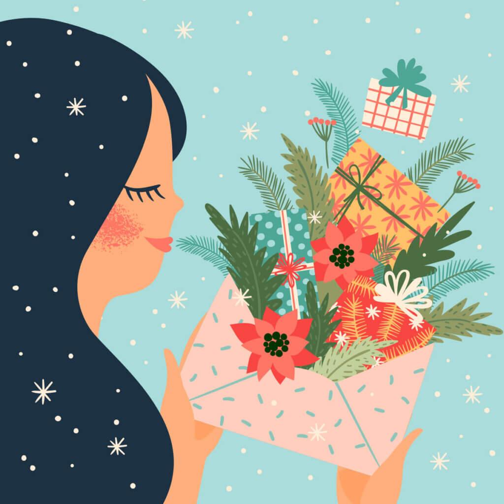 Картинка на новый год с с цветами, зелёными растениями и подарками выпадающими из почтового конверта в руках девушки - брюнетки.