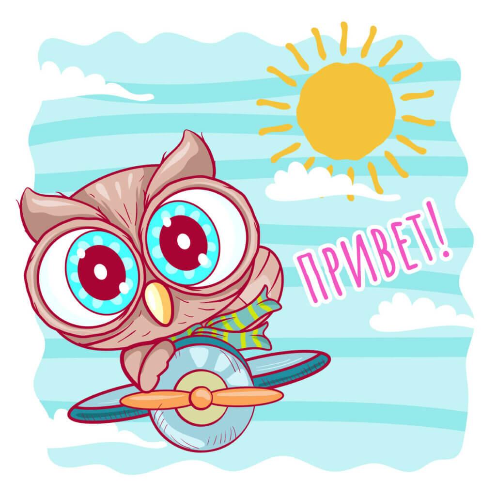 Картинка с розовым текстом - открытка привет любимая с мультипликационной совой на самолёте, летящей по небу на фоне облаков и солнца.