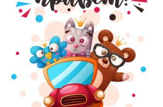 Картинка для открытки с приветом с мультипликационными персонажами медведя в очках, зайца в галстуке - бабочке и цыплёнке в автомобиле.