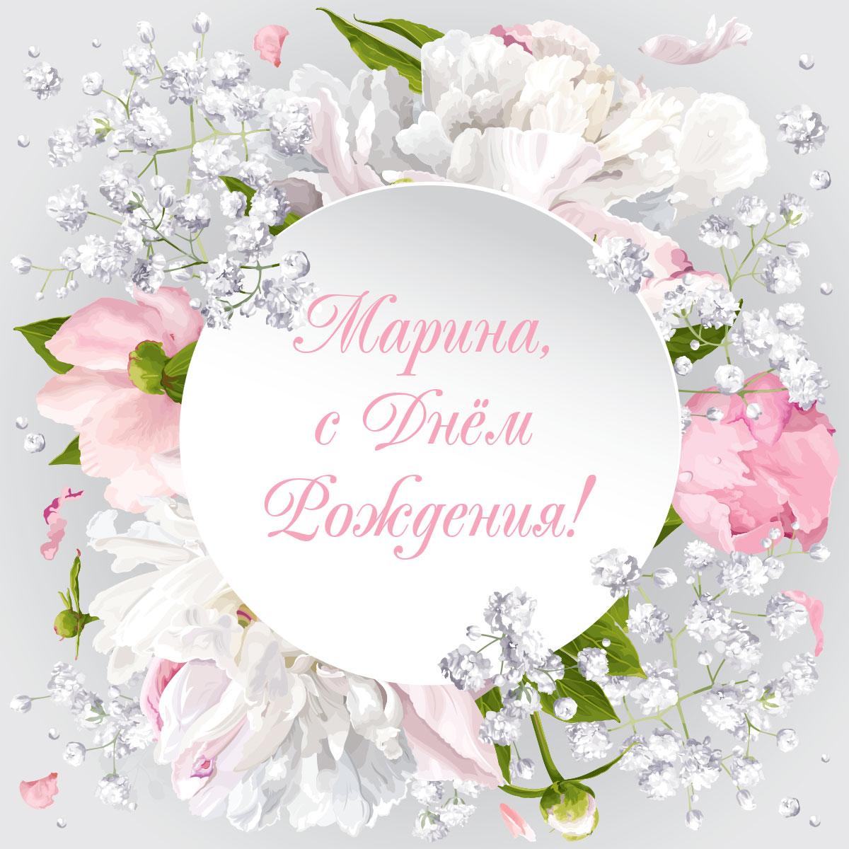 Картинка с цветочной композицией из белых цветов.