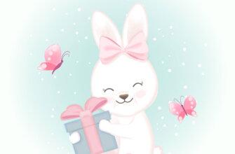 Картинка с текстом: открытка с днем рождения Катя с розовым мультипликационным зайцем, коробкой с подарком и бабочками.