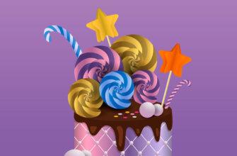 Фиолетовая картинка с текстом с днем рождения Танюша и украшенный торт.