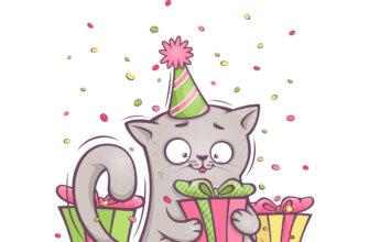 Картинка с текстом с днем рождения Света и кошкой в шляпе для вечеринок.