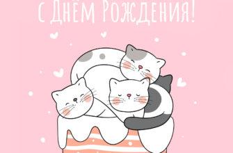 Розовая картинка котята на торте.