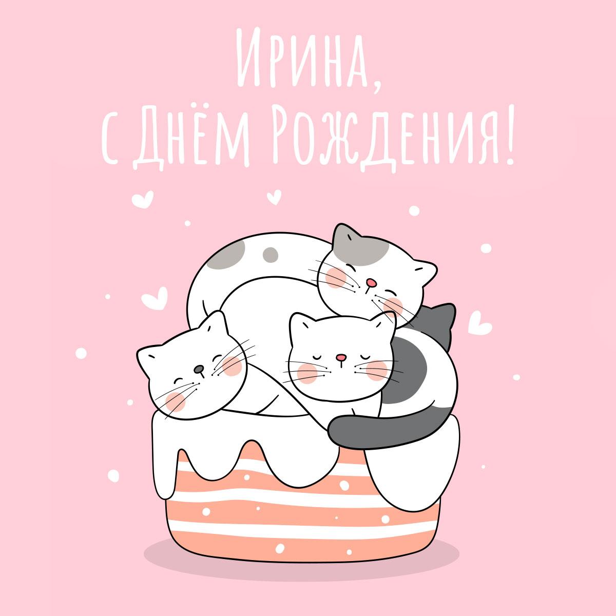 Картинка с текстом для розовой открытки с днем рождения Ирина: мультипликационные котята на торте.