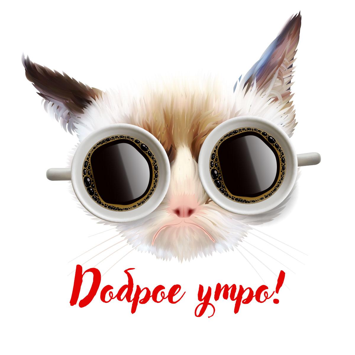 Кошачья морда в очках из двух чашек чёрного кофе.