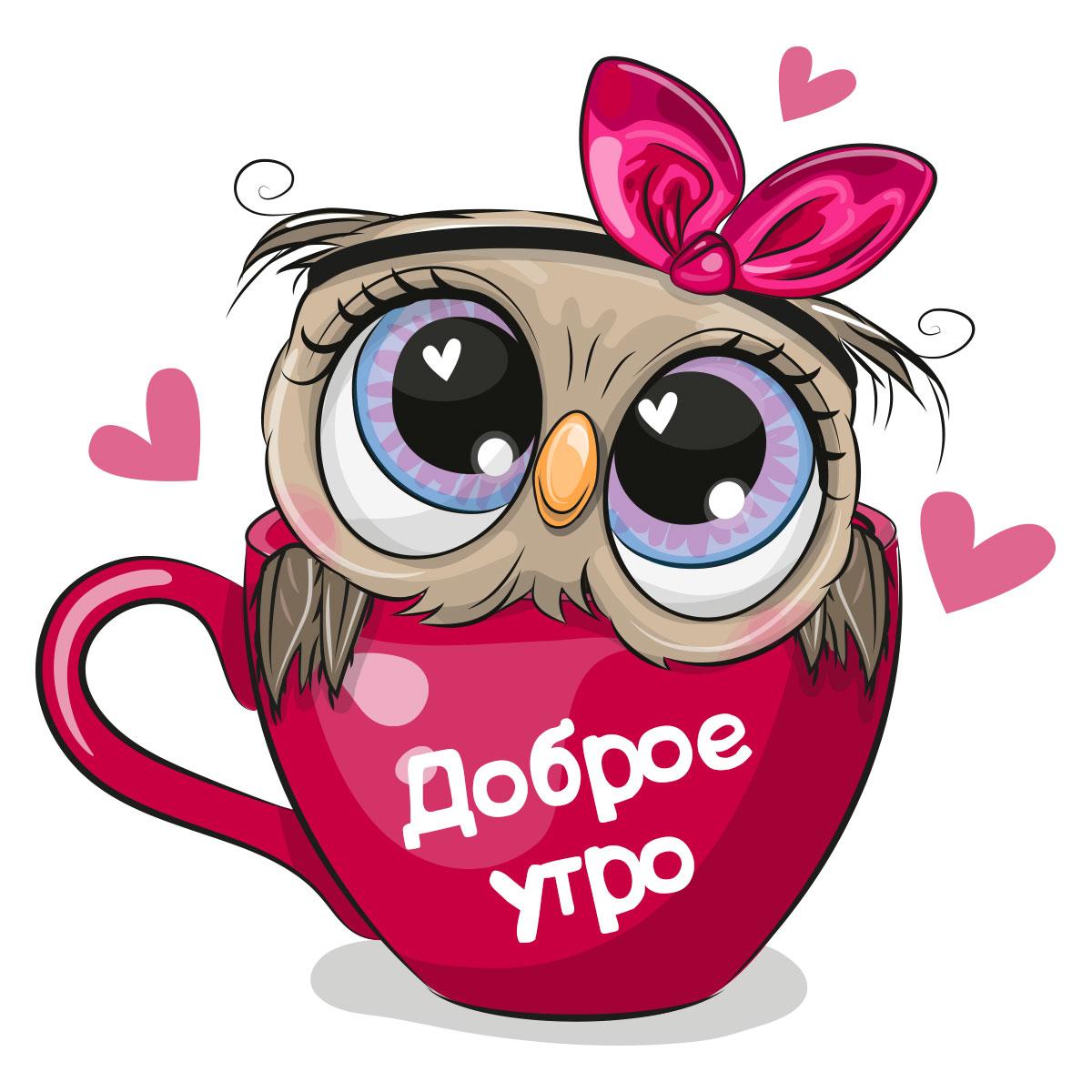 Сова в розовой кофейной кружке на белом фоне с сердечками.