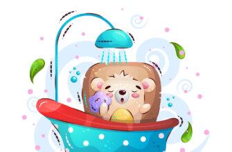 Картинка с текстом доброе утро медвежонок купается в ванной под душем.