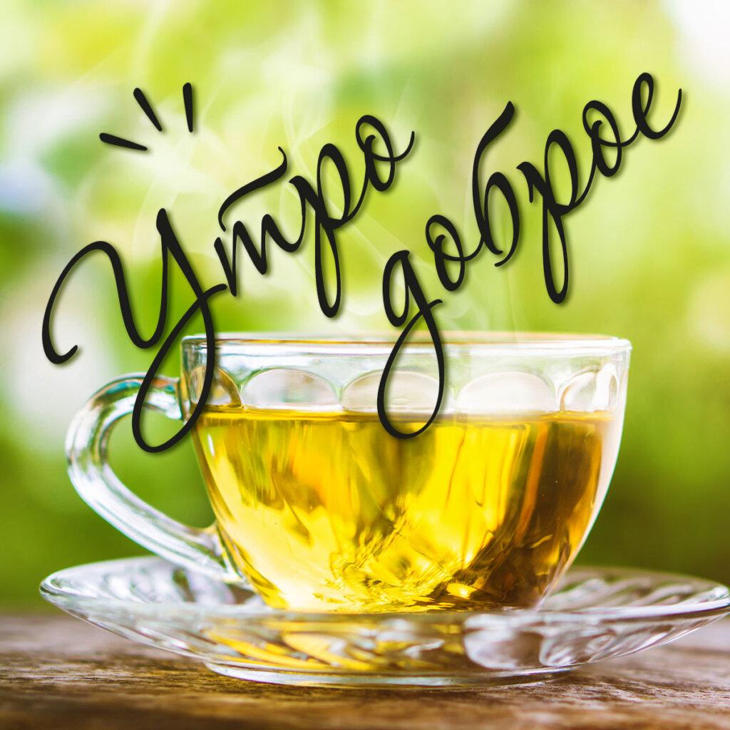 Фотография с текстом утро доброе: стеклянная чашка на блюдце с чаем жёлтого цвета на зелёном фоне.